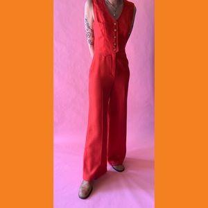 Vintage red orange jumpsuit
